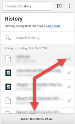 how to delete browsing history on chrome android