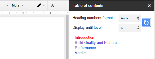 How to automatically create table of contents to google for Table of contents google docs
