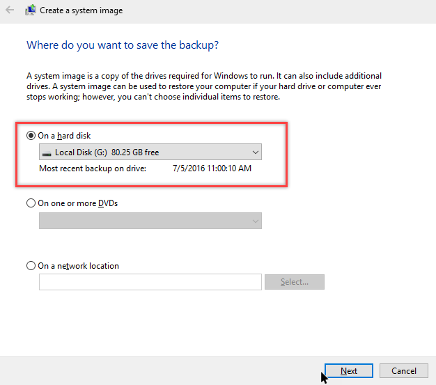 how to create system image in windows 10